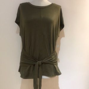Olive green tie front top